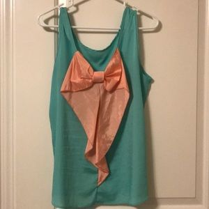 tank with pale pink large bow detail on back